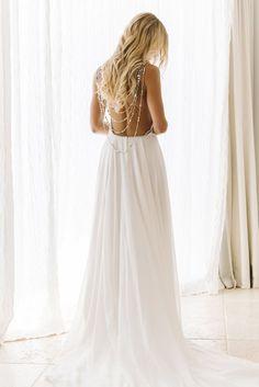 Beach Backless Chiffon Wedding Dress