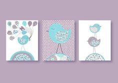 Aqua and Purple Nursery Prints Birds Chevron by SweetPeaNurseryArt, $38.00