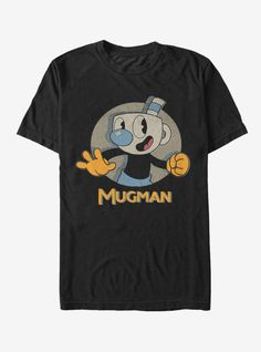 """The devil is on Mugman's trail but he's feeling pretty good with you on his side! Your favorite player from the new run and gun video game grins out at you from this shirt with """"Mugman"""" in slightly distressed yellow font. Gun Video Game, Teamwork Poster, Boxing T Shirts, Legend Of Zelda Breath, Time T, Tank Girl, No Show Socks, Vinyl Figures, Mens Tees"""