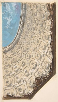 Design for a coffered ceiling with a central oval painted in clouds