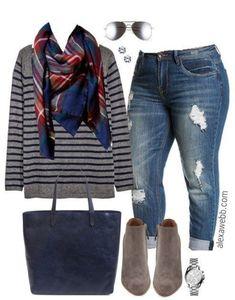 Plus Size Stripes & Plaid Outfit - Plus Size Fashion for Women - alexawebb.com #alexawebb #fashionideas