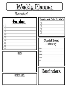 The Best of Teachers Pay Teachers: FREE MISC. LESSON - Weekly Planner Sheet school-stuff