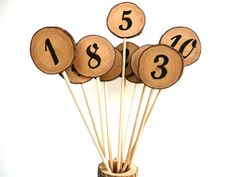 Rustic Wedding Table Numbers, Set of 6, Table Numbers Wedding Decor, Number on Stick