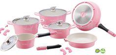 Keramik Kochgeschirr-Set 14-teilig Rosa/pink TV-Werbung Royalty line Kochtopf Set mit Glasdeckel Concept DESIGN Kochtopf Pfanne Induktion: Amazon.de: Küche & Haushalt