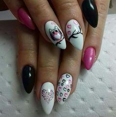 Uñas tiernas Glam Nails, Hot Nails, Nail Manicure, Pink Nails, Hair And Nails, Diy Nail Designs, Colorful Nail Designs, Nail Salon Design, Nail Polish Crafts
