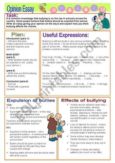 OPINION ESSAY - bullying, expulsion and effects of bullying on victims - ESL worksheet by vickyvar Expository Writing, Academic Writing, Teaching Writing, Kids Writing, Essay Writing, Writing Topics, Report Writing, 2nd Grade Books, 6th Grade Writing