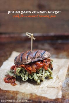 Pulled Pesto Chicken Burger on a Portobello Bun with Fire Roasted Tomato Jam - an amazing light and healthy burger filled with the flavors of summer! It's gluten free, Paleo and Whole30!