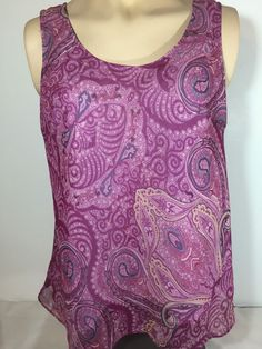 Women's Boho Hippie 14 16 Purple  Paisley Top Sleeveless Artsy Semi Sheer Lined #LaneBryant #Blouse #Casual