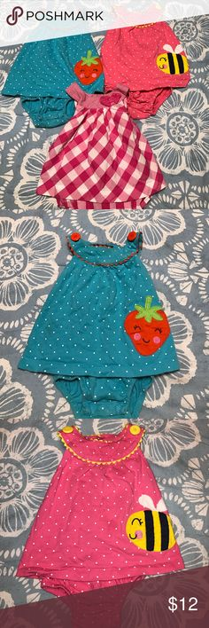 Lot of 3 Girl's size 12 Months Carter's Sunsuits! 3 Girl's size 12 Months carter's snap up Sunsuits in Great   condition! From a Non-smoking, Pet-free home! Carter's One Pieces Bodysuits
