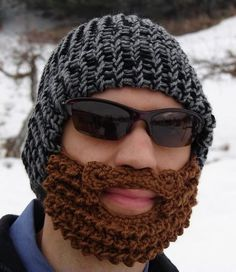 Adorable knit hat/beard combo for winter!