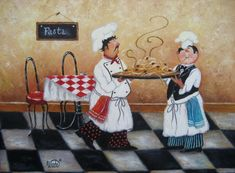 Pasta Chefs Print - Vickie Wade art, fat chefs, paintings, prints, chef art, kitchen, cafe, paris, food, vegetables, chefs, bistro. $26.00, via Etsy.
