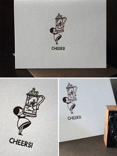 beer stein girl letterpress cards from penelope's press