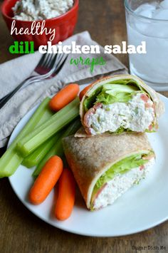 Healthy Dill Chicken salad Wraps  Creamy and delicious chicken salad wraps make a perfect light lunch or dinner! Healthy Dill Chicken Salad Wraps are  made with plain Greek yogurt and shredded poached chicken for a protein-rich, guilt-free, filling sandwich you'll love.