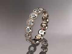 14kt rose gold white sapphire flower wedding by anjaysdesigns, $895.00