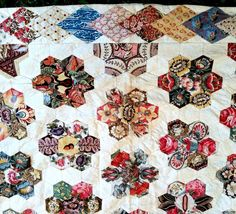 1820 Antique English Pieced Coverlet Quilt Early Chintz 18th century SPECTACULAR