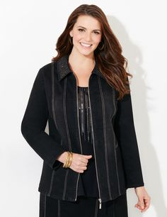 Dazzle Denim Jacket | Catherines Freshen up your look with this must-have denim jacket. This style shines with sparkling rhinestones on the fold-over collar. Complete with contrast stitch, princess seams and vertical piping for a slimming finish. Match it back to our Dazzle Denim Skirt for a coordinating look. Zip front. Long sleeves. Catherines jackets are styled exclusively for the plus size woman. #catherines #plussize #plussizefashion #blacklabel
