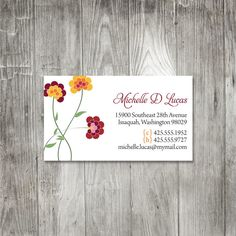 Polka Dot Chrysanthemum Personal Calling Cards by pinklilypress , sale 50 for $17.50