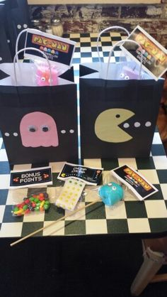 Gift bags and treats! Gift bags and treats! 80s Birthday Parties, Man Birthday, Birthday Party Favors, Birthday Ideas, Party Favor Bags, Gift Bags, Super Mario, Pac Man Party, Video Game Party