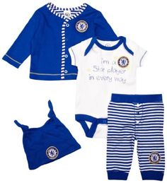 Chelsea Football Club Unisex Baby Giftset Cardigan Bodysuit Hat and Legging Set Blue White and Stripe: From 0mths to 12 - 18 Months 4 Pieces: £10.00 Amazon.co.uk: Clothing