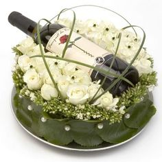 Flowers and wine by bloomers flower shop
