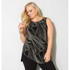 Avenue Plus Size Shimmer Wave Asymmetrical Tank ($49) ❤ liked on Polyvore featuring tops, gold, plus size, sleeveless tank, plus size tank tops, scoop neck tank, long tank and women's plus size tops