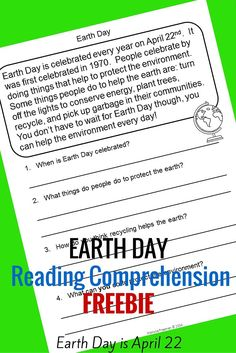 This Earth Day Reading Comprehension Freebie is just one of the 10 passages in my Spring Reading Comprehension Package!