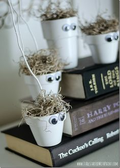 Easy and inexpensive Halloween craft for kids idea on how to make cute monster and ghost flower pots; full tutorial and dollar store supply list included ...