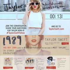 Introducing TAYLOR SWIFT'S NEW ALBUM CALLED 1989 WITH A RELEASE DATE OF OCTOBER 27.