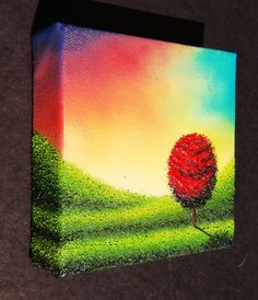 ORIGINAL Art Red Tree Oil Painting Modern Landscape by BingArt, $49.95