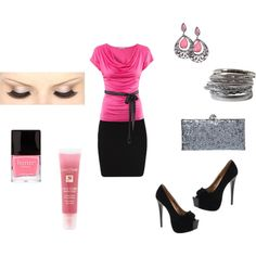 Pink and Black, created by krystal-kuhn on Polyvore