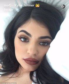 The usual: The 19-year-old is known for her heavy hand when it comes to lipstick shades and makeup contouring