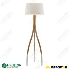 Carmen Natural Timber with White Base and White Shade Floor Lamp - Shop - Lighting Illusions Online