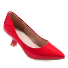 Pointed Toe Strange Heel Pumps - Red 38 Stiletto Heel Casual