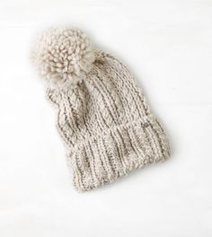 Oatmeal Heather AEO Solid Pom-Pom Beanie