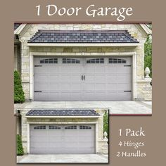 Hinge-It Decorative Garage Door Accents are the patented, easy-to-use decorative magnets that transforms your plain steel garage door into an elegant carriage door--without screws, nails, or damaging construction. These charming magnetic garage door hinges and handles attach to steel doors through strong magnets. The handles and hinges are made from resilient and flexible plastic that is made to be outdoors and in the elements. The strong magnets stay put through wind, rain, and sun. The… Door Hinges, Garage Door Styles, Garage Decor, Garage Door Decor, Door Makeover, Accent Doors, Garage, Garage Door Types, Doors