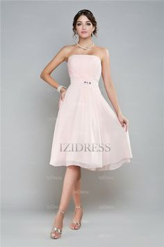 A-Line/Princess Strapless Chiffon Cocktail Dress - IZIDRESSES.com