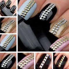 Hot Sell Design Nail Art Decoration Stickers Metallic Gold Studs Nail Tips DIY. Metallic Nail Studs - Coat with good quality clear varnish (or use nail glue) Nail Art Kit, 3d Nail Art, Nail Art Hacks, Nail Art Tools, Art 3d, Foil Nail Art, Foil Nails, 3d Nails, Glam Nails