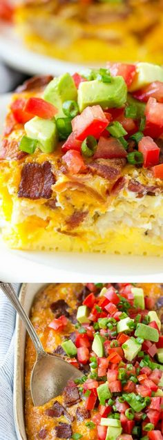 This Breakfast Casserole with Bacon from Dinner at the Zoo is the perfect hearty breakfast for any occasion. It's loaded with eggs, cheese, bacon, and then is finished off with a fresh avocado and tomato topping.