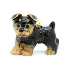 1 - Porcelain Yorkshire Terrier Pendant Hand Painted Glaze Ceramic Animal Yorkie Dog Bead Vintage Jewelry Supplies Little Critterz Porcelain...