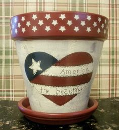 Up for your consideration is this cute hand painted (by our resident artist) terra cotta flower pot. This flower pot is completely hand painted - Flower Pot Art, Clay Flower Pots, Terracotta Flower Pots, Flower Pot Crafts, Diy Flower, Americana Crafts, Patriotic Crafts, Patriotic Decorations, July Crafts