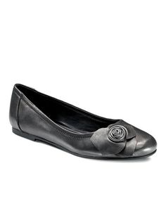 Take a look at this Black Goya Floral Flat by ECCO on #zulily today!