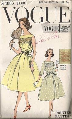 Vintage 50's VOGUE SPECIAL DESIGN s-4883 1950's Full Skirt Swing Dress Sewing Pattern Mad Men