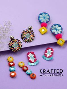 Shop from our wide range of & ✓ Cash on delivery ✓ Discount ✓ Latest Designs Diy Fabric Jewellery, Fabric Earrings, Thread Jewellery, Textile Jewelry, Handmade Jewelry Designs, Handmade Accessories, Handcrafted Jewelry, Earrings Handmade, Diy Wedding Earrings
