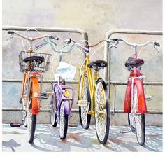 Bicycle Art Watercolor Painting Mothers Day Men Women Italian Vacation Travel Bright Color Bikes Italy Wall Decor Pale Gray12 x 12 Under 30. $28,00, via Etsy.