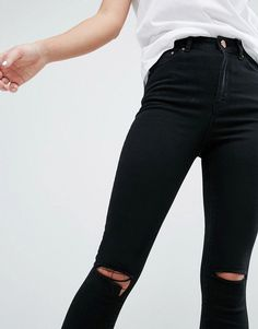 ASOS RIDLEY Skinny Jeans In Clean Black With Rips - Black