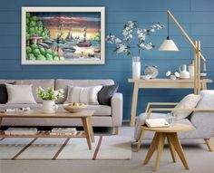 Loving blue décor, painting available at http://www.lakaycollection.com/#!shop--cart/cj1h
