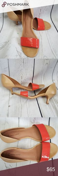 Corso Como shoes Perk up those khaki slacks with a pop of color. Comfy tapered kitten heel from Corso Como. Known for quality and comfort. Coral patent leather band with tan leather upper and leather lining. NWOT. (please note variations in leather are natural.) Made in Brazil. Corso Como Shoes Heels