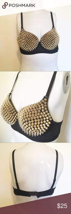Gold Spiked Bustier Size 36, cup size is about a C. Perfect for raves, costumes, or festivals. Worn once as part of a Selena costume. Intimates & Sleepwear Bras