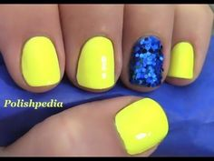 DIY Nails Art :DIY Neon Nails Art: Neon Yellow Nails With a Blue Glitter Accent Nail