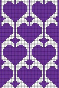filet crochet or tapestry ♥ⓛⓞⓥⓔ♥ with heart motif Could use for stranded colorwork knitting Tapestry Crochet Patterns, Bead Loom Patterns, Stitch Patterns, Beading Patterns, Heart Patterns, Knitting Charts, Knitting Stitches, Knitting Patterns, Bonnet Crochet